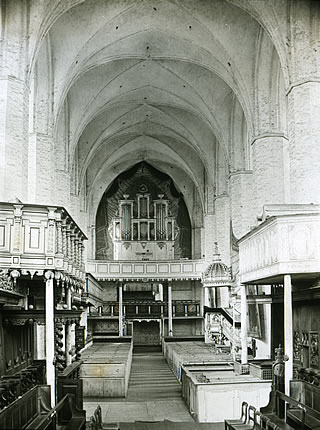 view from choir eastbound about 1908, before restoration
